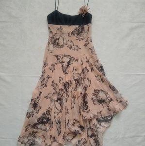 BCBGMAXAZRIA flower silk dress asymmetrical hem
